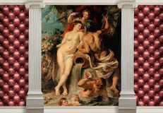 3d wallpaper, columns and painting Peter Rubens. The main features of classicism: restraint, aristocracy, sophistication. 3d wallpaper with effect of quilted stock photos