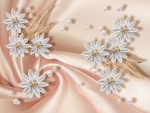 3d wallpaper, flowers and pearls. 3D wallpaper, jewelry flowers and pearls on silk background. Flower theme - this is a trend in design. Celebration 3d royalty free stock photography
