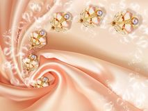 3D wallpaper, jewelry flowers and pearls on silk background. Flower theme - this is a trend in design. Celebration 3d background royalty free stock image