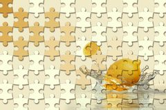 3d wallpaper, jigsaw puzzle pieces, lemon, water splash on yellow background. The original panel will turn your room in with the most recent world trends in royalty free stock photography