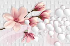3d wallpaper, magnolia on white abstract background. Romantic abstract background with magnolia. Celebration 3d background. Flower theme - this is a trend in vector illustration