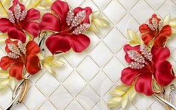 3D Wallpaper mural Design with Floral and Geometric Objects gold ball and pearls, gold jewelry wallpaper purple flowers