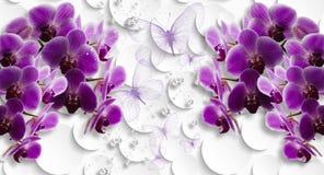 3d wallpaper, orchids and butterflies on abstract background. 3d wallpaper, orchids and butterflies on white abstract background. Celebration 3d background stock photos