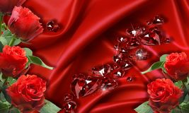 3d wallpaper, red roses on silk background. royalty free illustration