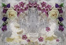 3d wallpaper, rose and flowers on concrete wall textured background. The fresco effect. vector illustration