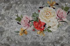 3d wallpaper, roses flower on concrete wall textured background. stock images