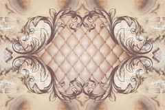 3d wallpaper, stucco decor frame, effect leather quilted buttoned royalty free illustration