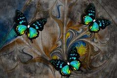 3d wallpaper texture, butterflies, nature painting, old canvas textures. Grey background. Murals effect.