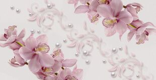 3d wallpaper texture,  pink orchids on watercolor paper, delicate flower design