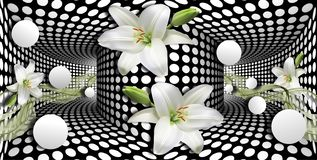 3d wallpaper, white calla lilies and sphere on optical illusions background vector illustration
