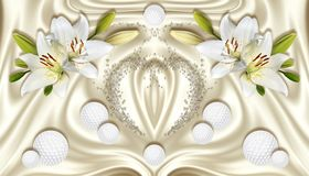3d wallpaper, white lilies and spheres on silk background. stock illustration