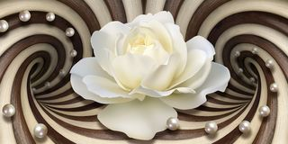 3d wallpaper, white rose and pearls on optical illusions background stock illustration