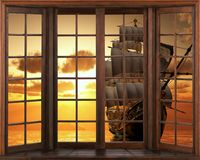 3D wallpaper, window view sailing boat ship schooner. In sunset at sea wall sticker view from the window. royalty free illustration