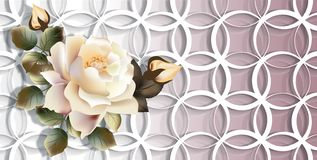 3d wallpaper, yellow rose on rings background. stock illustration
