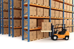 3d warehouse and forklift Royalty Free Stock Photo