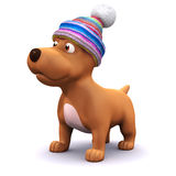 3d Warm puppy. 3d render of a dog wearing a woolen hat Royalty Free Stock Image