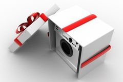 3d  washing machine gift Royalty Free Stock Images