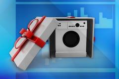 3d  washing machine gift illustration Royalty Free Stock Photography