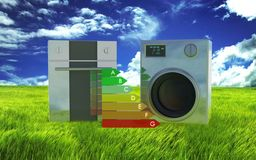 3d washing machine, oven - energy efficiency Stock Photos