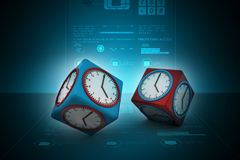 3d watch in cube. In color background Stock Photography