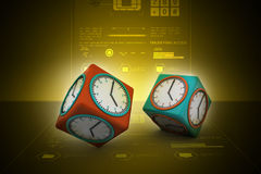 3d watch in cube. In color background Stock Photos