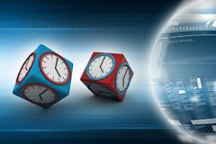 3d watch in cube. 3d illustration of watch in cube Stock Images