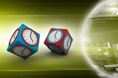 3d watch in cube. 3d illustration of watch in cube Stock Photography