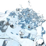 3d water pouring splash. 3d water pouring in glass and splash on white Royalty Free Stock Photo