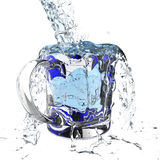 3d water pouring splash. 3d water pouring in glass and splash on white Stock Photos