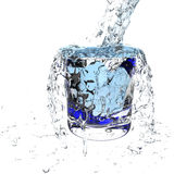3d water pouring splash. 3d water pouring in glass and splash on white Royalty Free Stock Photography