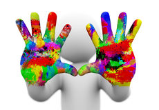 3d watercolor painted coloful hands illustration. 3d rendering of closeup of two painted, colorful human hands presenting concept of creativity, fun, artistic Stock Photo