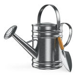 3D watering can and spade Royalty Free Stock Image