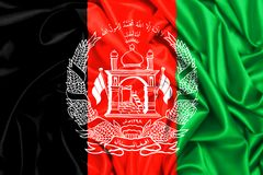 3d waving flag of Afghanistan in the wind. Silk texture fabric background royalty free illustration