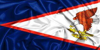 3d waving flag of American Samoa. Wavubg in the wind Royalty Free Stock Image