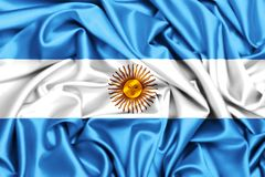 3d waving flag of Argentina. Silk texture fabric background Royalty Free Stock Photo