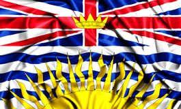 3d waving flag of British Columbia. Canada provinces set- 3d waving flag of British Columbia, silk fabric texture Royalty Free Stock Image