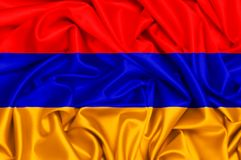 3d waving flag of Armenia. 3d waving flag of country Armenia, silk texture fabric background Stock Photos