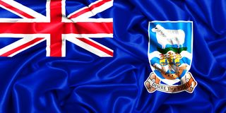 3d waving flag of Falkland Islands. Silk texture background Royalty Free Stock Photo