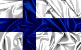3d waving flag of Finland. On a wind, silk texture background fabric Stock Photos