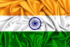 3d waving flag of India in the wind. Silk texture fabric background Stock Photography