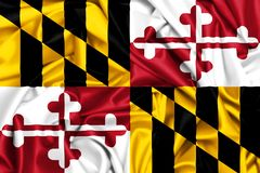 3d waving flag of Maryland. USA states set- 3d waving flag of Maryland, silk fabric texture background Stock Photography