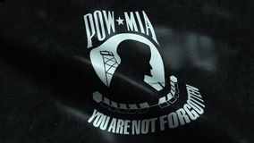 3D Waving Flag of National League of Families POW MIA Closeup View