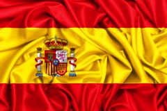 3d waving flag of Spain. In the wind, fabric texture bacgkround silk stock illustration