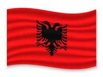 3D Waving Flag  . Vector illustration. 3D Waving Flag of Albania . Template for your design stock illustration