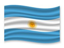 3D Waving Flag  . Vector illustration. 3D Waving Flag of Argentina . Template for your design vector illustration