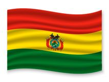 3D Waving Flag  . Vector illustration. 3D Waving Flag of Bolivia . Template for your design royalty free illustration