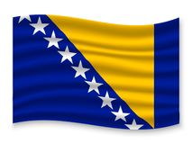 3D Waving Flag  . Vector illustration. 3D Waving Flag of Bosnia . Template for your design vector illustration