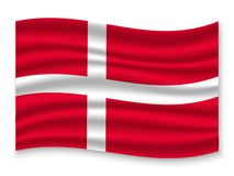 3D Waving Flag  . Vector illustration. 3D Waving Flag of Denmark . Template for your design stock illustration