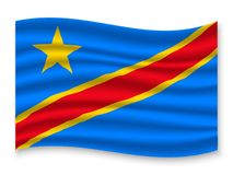 3D Waving Flag  . Vector illustration. 3D Waving Flag of DR Congo . Template for your design vector illustration