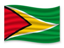 3D Waving Flag  . Vector illustration. 3D Waving Flag of Guyana . Template for your design stock illustration